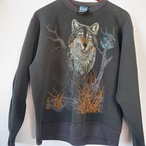 Vintage Wolf sweatshirt full moon with an attitude